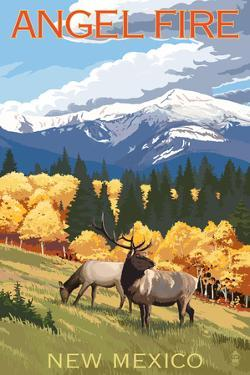 Angel Fire, New Mexico - Elk and Mountains by Lantern Press