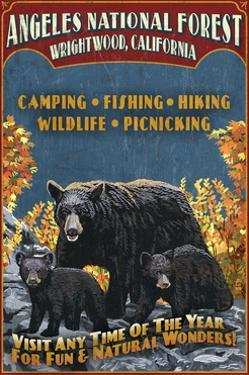 Angeles National Forest - Wrightwood, California - Black Bears Vintage Sign by Lantern Press
