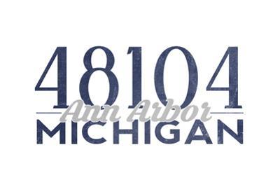 Ann Arbor, Michigan - 48104 Zip Code (Blue) by Lantern Press