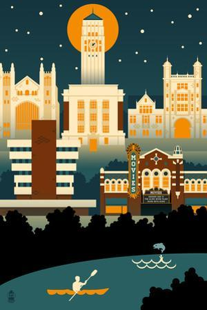 Ann Arbor, Michigan - Retro Skyline (no text) by Lantern Press