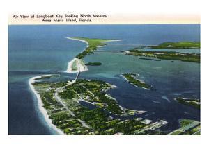 Anna Maria Island, Florida - Aerial View of Island, Longboat Key by Lantern Press