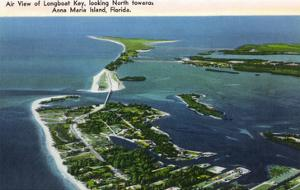 Anna Maria Island, Florida - Aerial View of Island, Longboat Key by Lantern Press