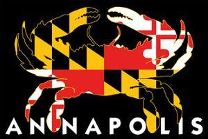 Annapolis, Maryland - Crab Flag (Black with White Text) by Lantern Press