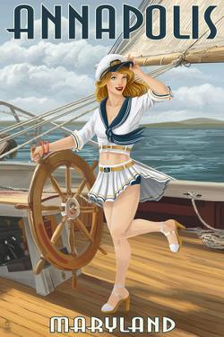 Annapolis, Maryland - Pinup Girl Sailing by Lantern Press