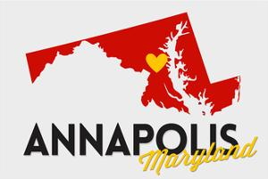 Annapolis, Maryland - Red and Black - State Outline and Heart by Lantern Press