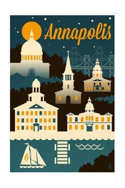 Annapolis, Maryland - Retro Skyline by Lantern Press