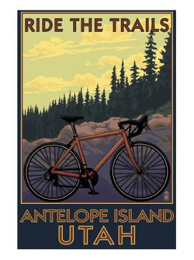 Antelope Island, Utah - Mountain Bike Scene by Lantern Press