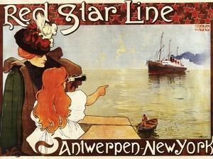 Antwerp, Belgium - Red Star Line Cruises to New York Promo Poster - Antwerp, Belgium by Lantern Press