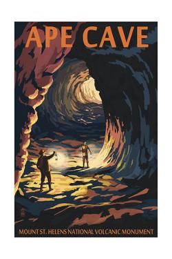 Ape Cave - Mount St. Helens - Sunset View by Lantern Press