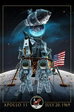 Apollo 11 - Lander and Astronauts by Lantern Press