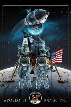 Apollo 11 - Lander and Astronauts by Lantern Press