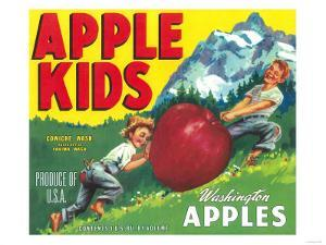Apple Kids Apple Label - Yakima, WA by Lantern Press