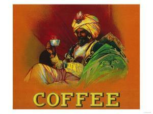 Arab Man Coffee Label by Lantern Press