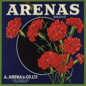 Arenas Brand - Los Angeles, California - Citrus Crate Label by Lantern Press