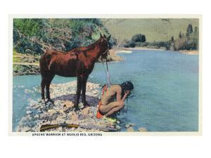 Arizona - Apache Man Drinking at Navajo Rio by Lantern Press