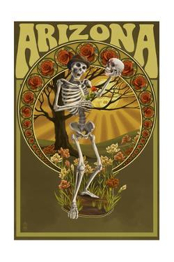Arizona - Day of the Dead - Skeleton Holding Sugar Skull by Lantern Press