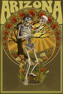 Arizona - Day of the Dead - Skeleton Holding Sugar Skull by Lantern Press