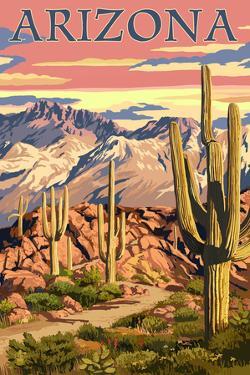 Arizona Desert Scene at Sunset by Lantern Press
