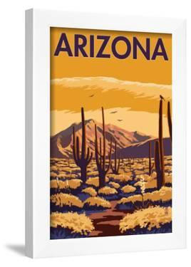 Arizona Desert Scene with Cactus by Lantern Press