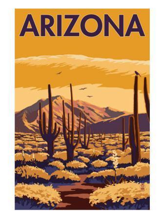Arizona Desert Scene with Cactus by Lantern Press