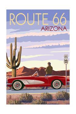 Arizona - Route 66 - Corvette with Red Rocks by Lantern Press