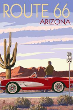 Arizona - Route 66 - Corvette with Red Rocks by Lantern Press