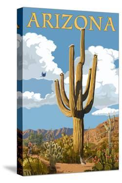 Arizona - Saguaro and Roadrunner by Lantern Press