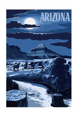 Arizona - Wolves and Full Moon at Night by Lantern Press