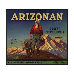 Arizonan Brand - Phoenix, Arizona - Citrus Crate Label by Lantern Press