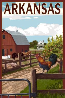 Arkansas - Barnyard Scene by Lantern Press