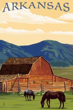 Arkansas - Horses and Barn by Lantern Press