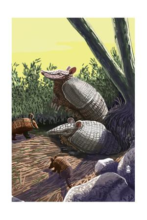 Armadillo Family by Lantern Press