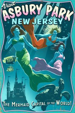 Asbury Park, New Jersey - Mermaids Vintage Sign by Lantern Press