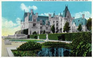 Asheville, North Carolina, Exterior View of the Biltmore Mansion with Lily Pools by Lantern Press