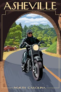Asheville, North Carolina - Motorcycle Scene by Lantern Press