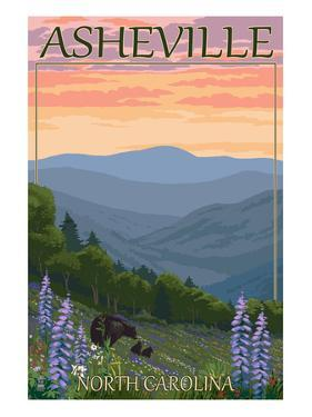 Asheville, North Carolina - Spring Flowers and Bear Family by Lantern Press