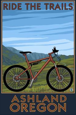 Ashland, Oregon - Mountain Bike Scene - Ride the Trails by Lantern Press