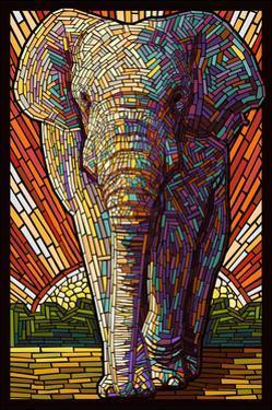 Asian Elephant - Paper Mosaic by Lantern Press