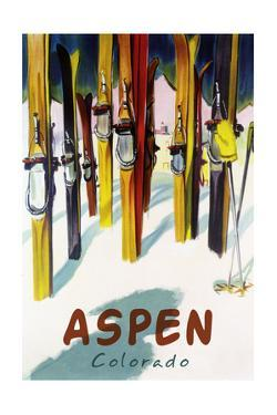 Aspen, CO - Colorful Skis by Lantern Press
