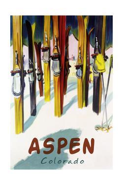 Aspen, CO - Colorful Skis by Lantern Press