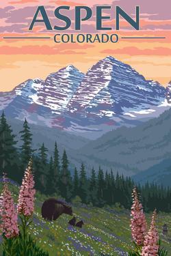 Aspen, Colorado - Bear and Spring Flowers by Lantern Press