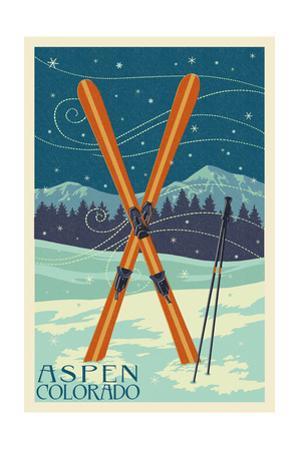 Aspen, Colorado - Crossed Skis by Lantern Press