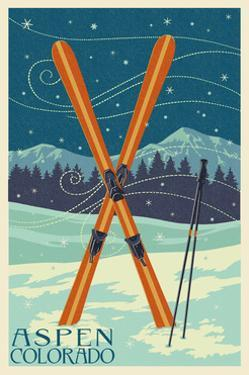 Aspen, Colorado - Crossed Skis by Lantern Press