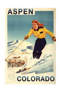Aspen, Colorado - Red-Headed Woman Skiing by Lantern Press