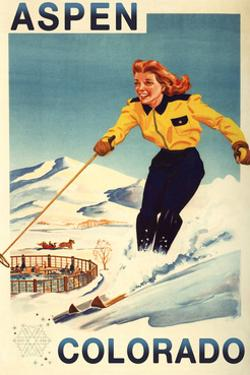 Aspen, Colorado - Red-Headed Woman Skiing by Lantern Press