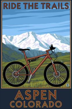 Aspen, Colorado - Ride the Trails, Mountain Bike by Lantern Press