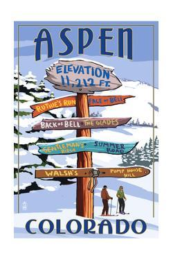Aspen, Colorado - Ski Signpost by Lantern Press
