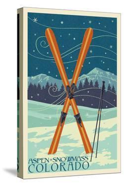 Aspen - Snowmass, Colorado - Crossed Skis by Lantern Press
