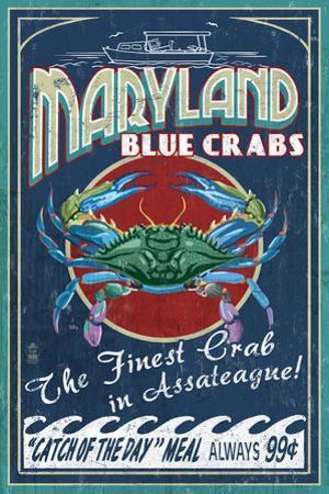 Assateague, Maryland - Blue Crab Vintage Sign