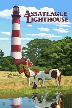 Assateague, Virginia - Lighthouse and Horses by Lantern Press
